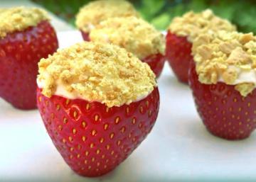 Ces fraises sont fourrées d'une crème fromagée et vanillée tout à fait exquise!