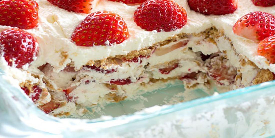 Le  gâteau Graham et fraises se mérite officiellement le prix coup de coeur des desserts sans cuisson