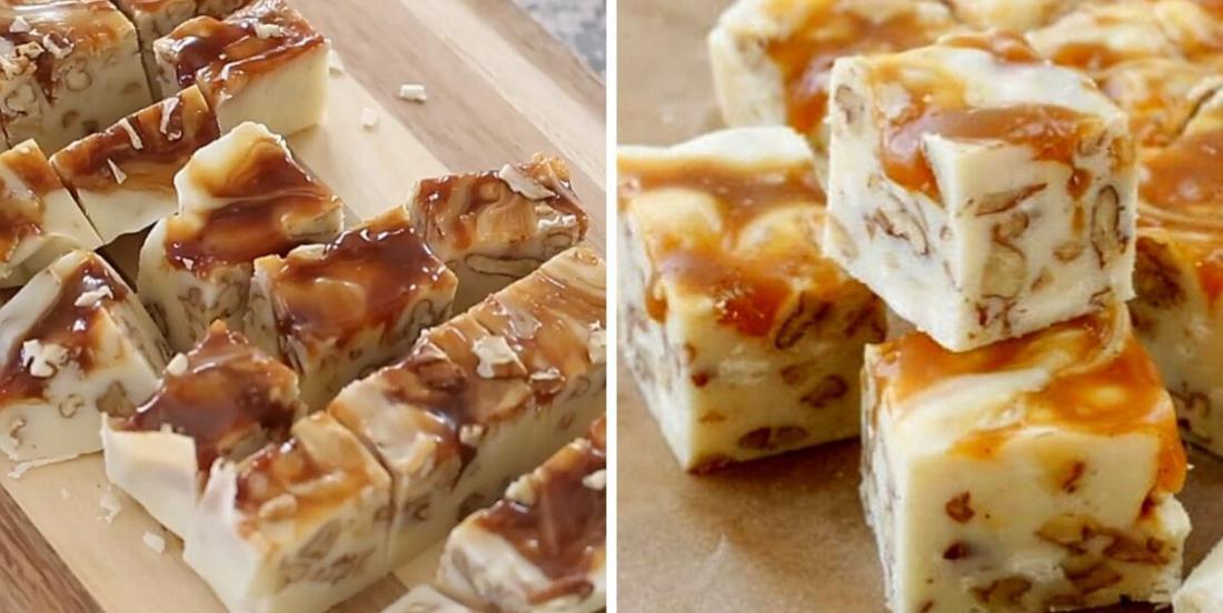 Fudge au chocolat blanc, au caramel et aux pacanes