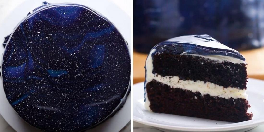 Gâteau au chocolat avec glaçage galactique