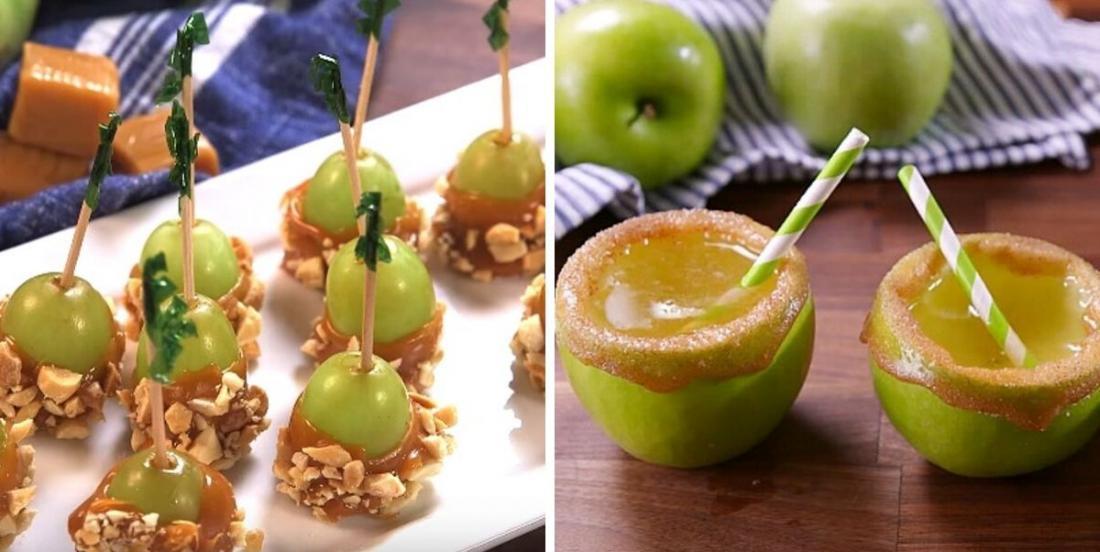 Lancez les festivités d'automne avec ces raisins nappés de caramel à la vodka et un spritz pétillant pomme-caramel