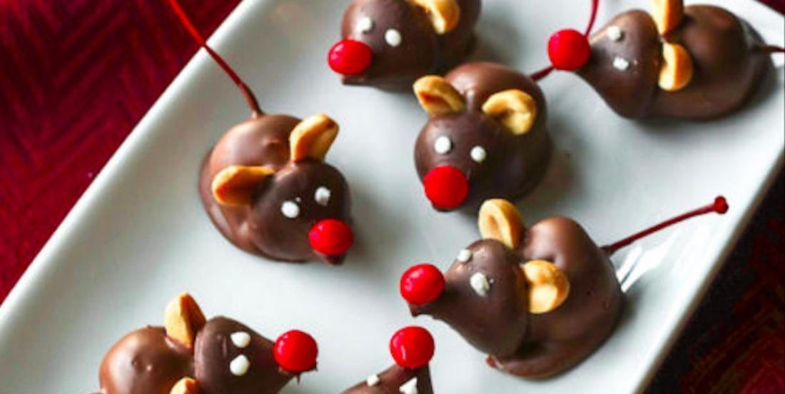 Douceurs de Noël: de mignonnes souris cerise et chocolat!