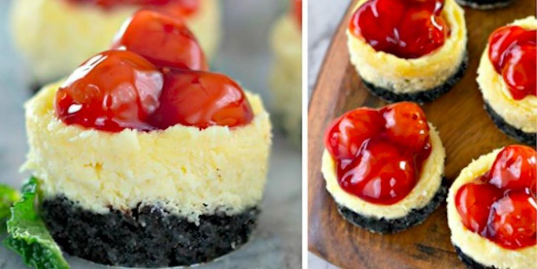 Une douceur qui goûte le ciel: des mini gâteaux au fromage, cerise et biscuits Oreo