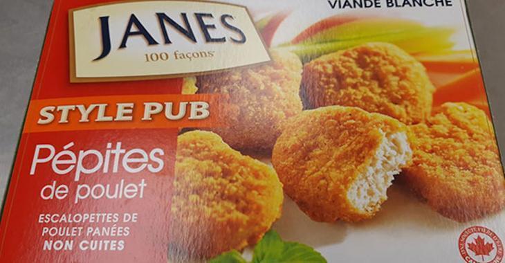 ATTENTION! Rappel de pépites de poulet de marque Janes.