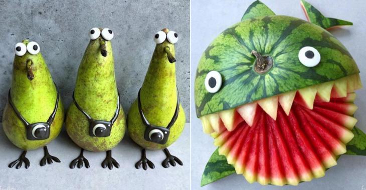Une maman surprend ses enfants en créant des personnages avec des aliments
